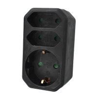 3-fach Adapter (1Schuko/2Euro) (schwarz)