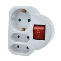 3-fach Adapter (1Schuko/2Euro) mit Schalter (weiß)
