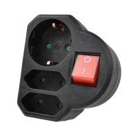 3-fach Adapter (1Schuko/2Euro) mit Schalter (schwarz)
